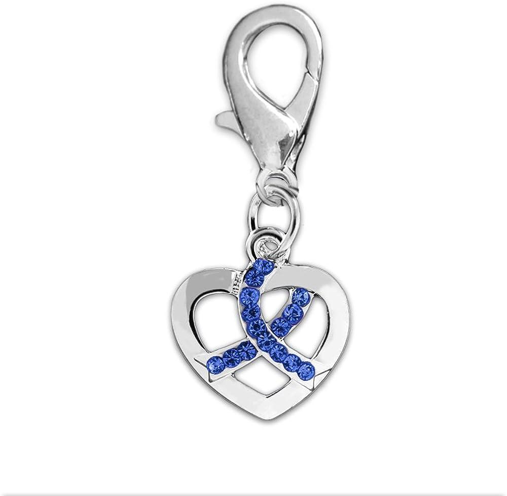 Crystal Dark Blue Ribbon Heart Under blast sales Regular dealer Hanging Silver Charm