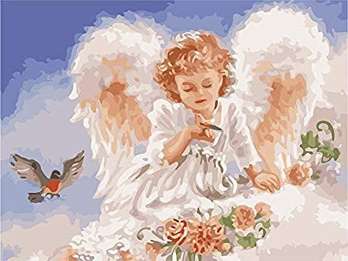YJJPP DIY Gemälde nach Zahlen für Erwachsene Kinder Mädchen Engel Mädchen süßes Gebet 40x50cm (Rahmenlos)