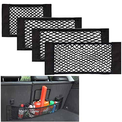 Yueser 4 Pezzi Rete Portaoggetti Auto Bagagliaio Rete Portaoggetti Auto Tasche in Rete Elastica Autoadesiva per Bagagliaio della Macchina Rete Portaoggetti Tasca Organizer (4 Taglie)