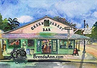 Green Parrot Bar Key West - Fine Art Wall Art Artwork Watercolor Art Print by Brenda Ann