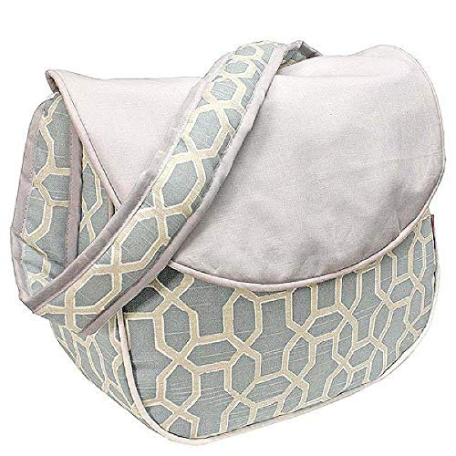 Hoohobbers Messenger Diaper Bag, Pebbles Sky Blue