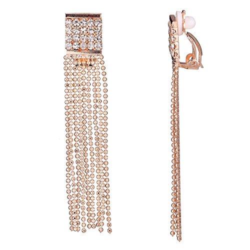 Belle Miss - Pendientes de clip cristal naranja con flecos en cadena oro para mujeres - Joyería de moda