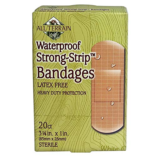 All Terrain Waterproof Strong Strip Bandages, 100% Sterile, Adhesive, Latex-Free, Non-Stick Pads, 1.0 x 3.25-Inch, 20 Ct