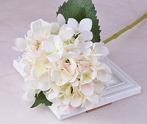 F-eshion Simulation Hortensien natürliche künstliche Seidenblume für Zuhause, Vase, Tischdekoration, Hochzeitssträuße, weiß/pink, same