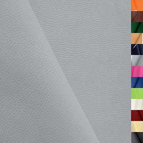 TOLKO Lederimitat mit Rindsleder Optik   weiche PREMIUM Meterware   für Stuhl Bank Sessel Sofa Sitzbezug 140cm breit   Kunstleder Bezugstoff Polsterstoff Polsterbezug Möbelstoff (Hell Grau)