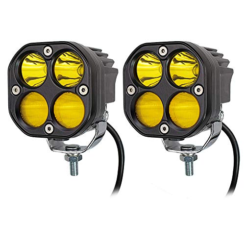 LED Combo Yellow Pods Lights 2Pcs 3Inch 40W Waterproof Yellow Driving OffRoad Fog Work lamp For Wrangler Offroad 4X4 Auto Car Jeep Truck ATV UTV Boat Motorcycle