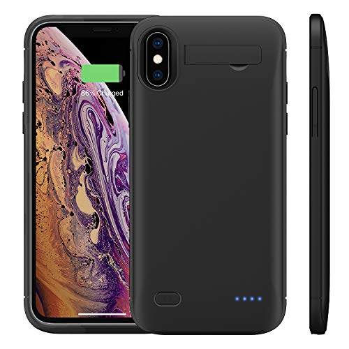 WELUV Funda para batería F.iPhone X XS de 4000 mAh con soporte, batería ultrafina, funda de carga, funda de batería externa de repuesto, color negro