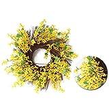Couronne de jasmin jaune artificiel, couronne de porte de fleurs de forsythia, couronne de fleurs de faux jasmin d'hiver, couronne de printemps été pour la décoration de mariage de porte d'entrée