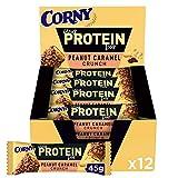 Corny - Barritas de Proteínas de Caramelo y Frutos Secos, Sin Azúcar Añadido ni Aceite de Palma - 12 x 45 gr