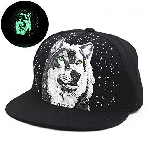 DGFB Hombres Mujeres Imprimir Wolf Glow In The Dark Snapback Sombreros Ajustable Hip Hop Fluorescente Gorras De Béisbol