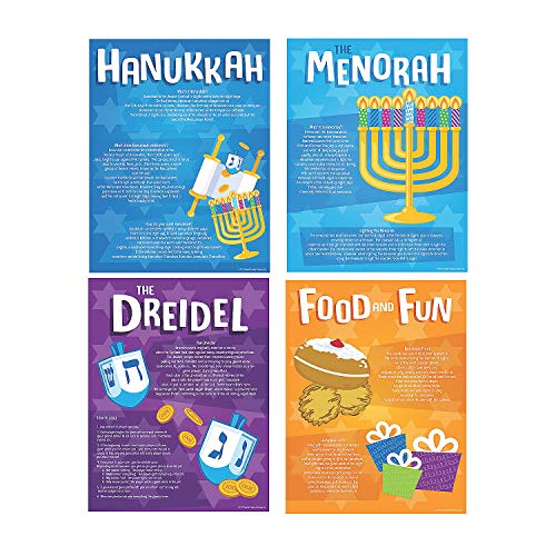 Fun Express Hannukah Poster Set - 4 Pieces - Educational and Learning Activities for Kids