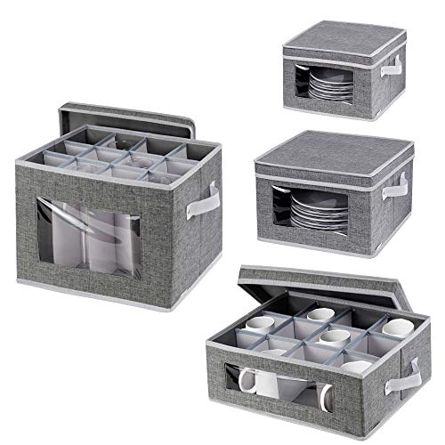 China Dinnerware Storage Containers Set - Stackable Stemware Storage BoxMugs and Dishes Organizer Chest with Lid and Clear WindowsPolyester fabric with Felt Plate DividersSet of 4 Grey