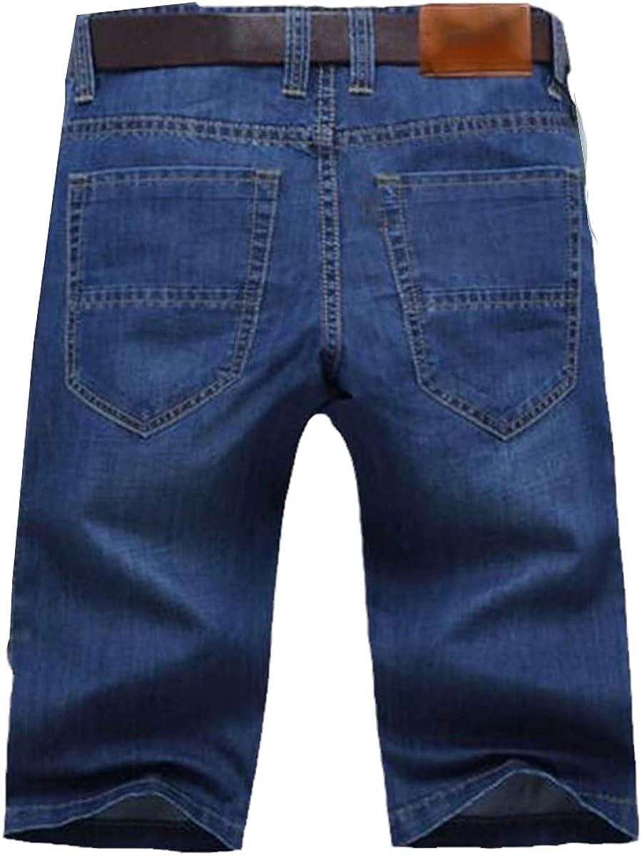 CACLSL Summer Casual Light Blue Short Denim Shorts Without Belt Large Size Men's Ripped Short Jeans