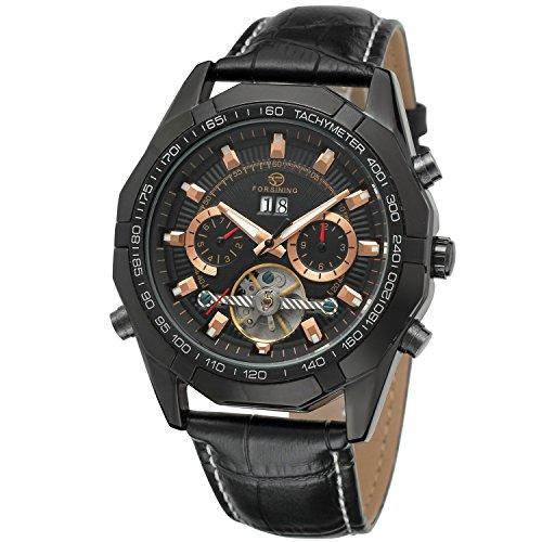 Forsining Reloj de pulsera automático Tourbillon para hombre, con correa de piel, FSG340M3B1