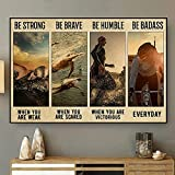 SIGNCHAT Triathlon Be Strong Vintage Poster Triathlons