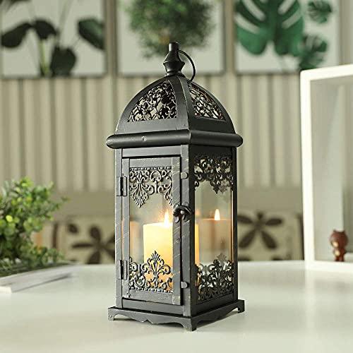 JHY DESIGN Dekorativ ljuslykta 38 cm hög metallstearinljus lyktor vintage stil hängande lykta för inomhus utomhus, evenemang, fester, bröllop (svart med guldborste)