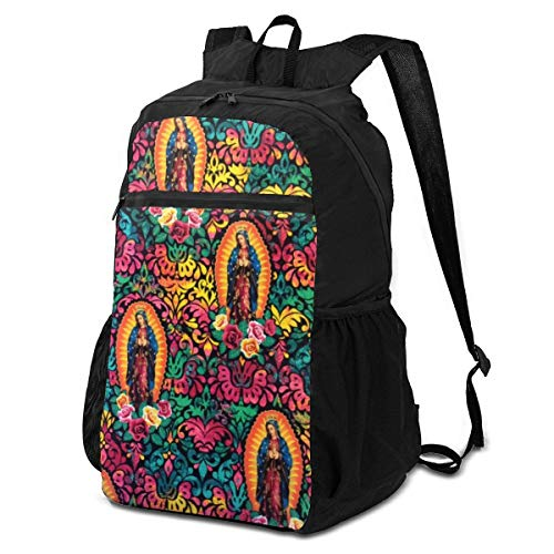 Foldable Our Lady Of Guadalupe Virgin Mary Religious Catholic Backpack for Travel Outdoor, Water Resistant Lightweight