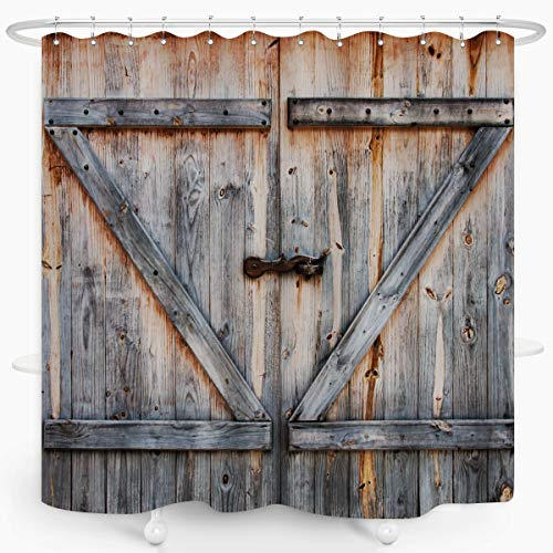 ZXMBF Rustic Shower Curtain Old Wooden Garage Door Bath Curtain American Native Country Farm House Style Waterproof Fabric Bathroom Décor 72x72 Plastic Hooks 12PCS
