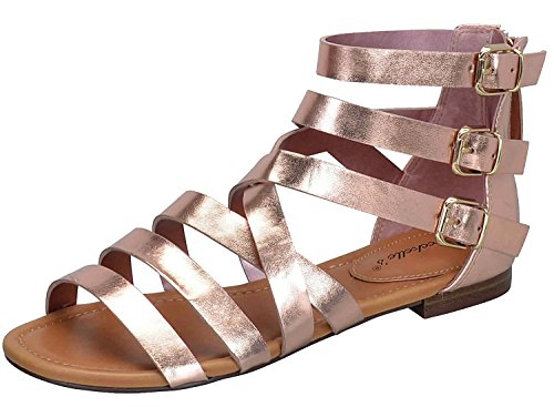 Breckelle's Women's Covina-24 Gladiator Strappy Flat Sandals Rose Gold 6