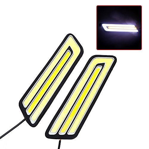 iTimo 1 paire de feux de recul étanches à LED COB DRL flexibles pour voiture