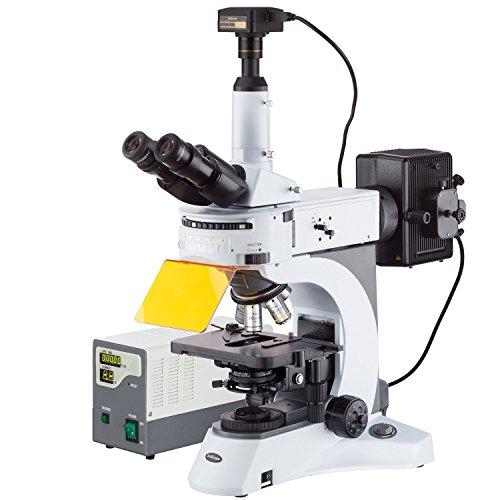 AmScope 40X-1000X rechtopstaande fluorescentie microscoop met draaiende multi-filter torentje + 14 MP camera