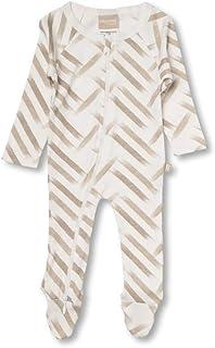 Babyushka Beige Stripe Organic Long Sleeve Zip Romper, Newborn (0000)