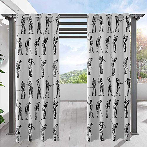Custom Outdoor Curtain Golf Swing Shown in Fourteen Stages Sports Hobby Themed Sketch Art Storyboard Print Blackout Curtains Add Style and Character and Privacy to Patio W84 x L96 Inch