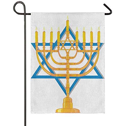 N/A Bandiera del Giardino,Poliestere Banner,Happy Hanukkah Candelabro A Doppia Faccia con Bandiera da Giardino A Bandiera Blu di Israele 70X102M
