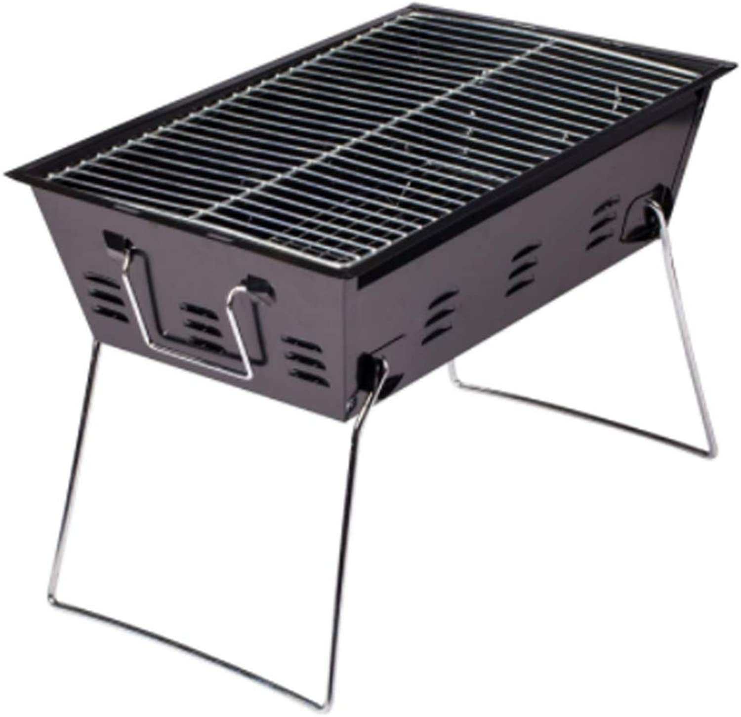 Stainless Steel Grill Folding Convenient Grills with Safety Chrome Plated Baking Net Smoker Barbecue Portable for Outdoor Garden Picnics Brown