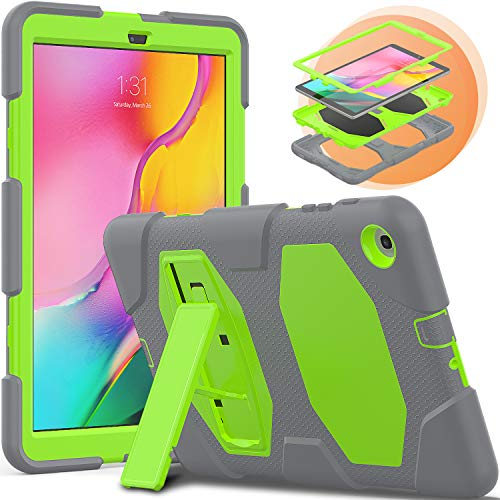 Samsung Galaxy Tab A 10.1 2019 Case,SM-T510/T515 With Stand,Timecity Tablet Case for Samsung, Heavy Duty Soft Silicone Hard Bumper Protective Covers For Galaxy Tab A 10.1 Inch For Kids[Grey+Green]