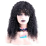 EMOL Hair Short Curly Hair Wigs For Women 14 inch Brazilian Kinky Curly Human Hair Wig With Bangs Full Machine Made Wigs None Lace Natural Black Color