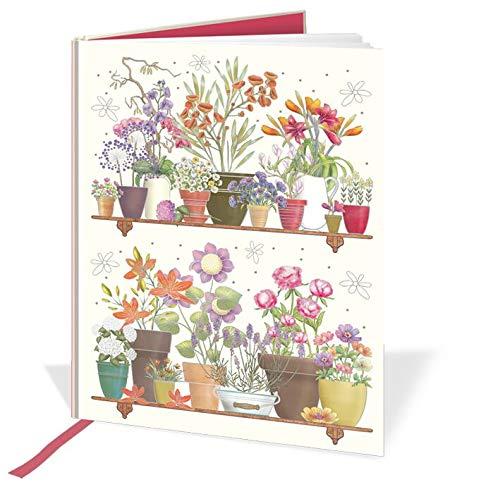 Cuaderno A5 con diseño de macetas, 120 páginas, cinta de seda y rayada, tamaño 210 mm x 148 mm