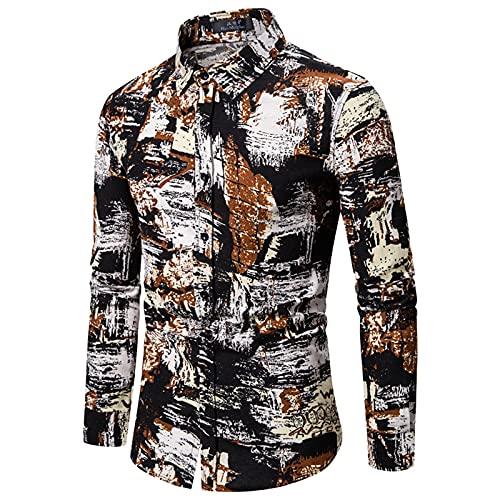 SSBZYES Camisas para Hombres Camisas De Manga Larga para Hombres Camisas De Manga Larga De Tamaño Europeo para Hombres Camisas De Algodón Y Lino Florales De Talla Grande Tops Casuales para Hombres