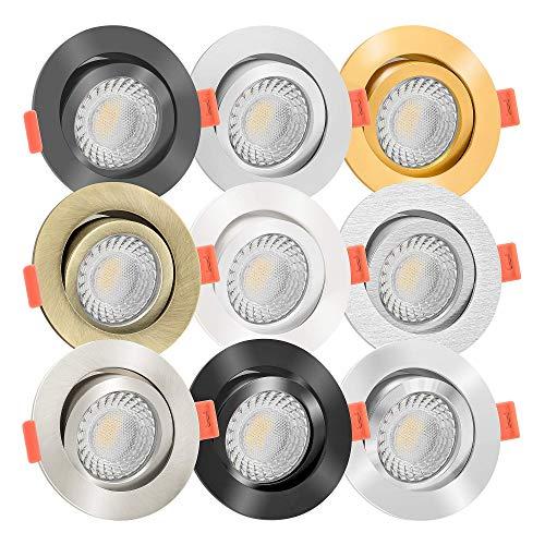 10x LED Einbaustrahler Aluminium rund 230V | 90 Cri | flach 25mm | DIMMBAR | 7W statt 90W | 60° & schwenkbar | warmweiß 3000K | 9 Farben zur Auswahl (Bronze-gebürstet)
