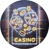 Casino Dice Game Man Cave Dual Color LED看板 ネオンプレート サイン 標識 白色 + 黄色 300 x 400mm st6s34-i2785-wy