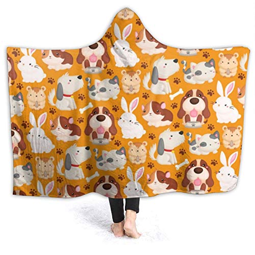 Moshow Hooded Blanket Soft and Warm Flannel Pet Dog Cat Hamster Rabbit Throw Blanket for Couch Sofa 50x40 inch