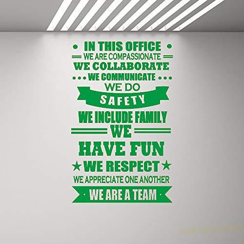 Reglas de la oficina Tatuajes de pared Cita inspirada Etiqueta de vinilo Trabajo Cartel Decoración Cita de motivación Trabajo en equipo Arte Mural para oficina color-1-9 42x66cm