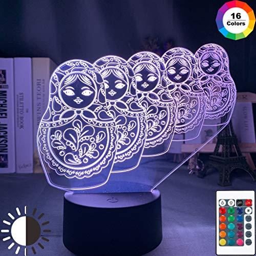 Matroschka Puppe 3d Illusion LED Nachtlicht 7 Farbwechsel Berührungssensor Nachtlicht für Home Room Decor Kinder Tisch 3d Lampe USB