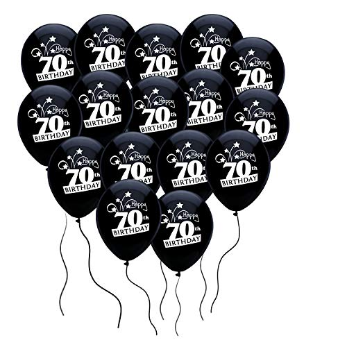 Party Mate Happy 70th Birthday Shooting Stars 12-Inch Latex Balloons - Pitch Black, 16-Count