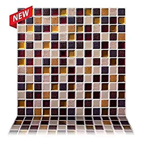 Vinilo decorativo para azulejos grueso y resistente al desgaste,12 * 12 pulgadas Autoadhesivo Sala de dibujo Etiqueta marrón Pelar y pegar Subway 3D Effect Tiles-SQ51_10_Piece