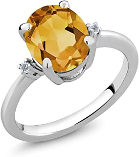 925 Sterling Silver Yellow Citrine and White Topaz Gemstone Birthstone Women's Ring (2.52 Ct Oval Cut, Available 5,6,7,8,9)