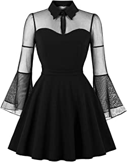 CHARMMA Women's Gothic Peter Pan Collar Keyhole Bell Sleeve Mesh Panel Dress