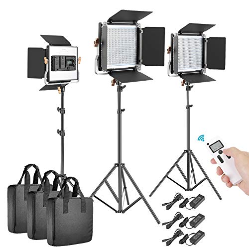 Neewer 3 Packs Advanced 2.4G 480 LED Video Light Photography Lighting Kit, Dimmable Bi-Color LED Panel with LCD Screen, 2.4G Wireless Remote and Light Stand for Portrait Product Photography