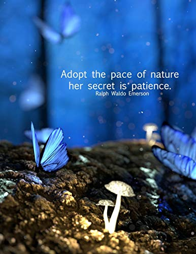 Adopt the pace of nature her secret is patience. Ralph Waldo Emerson: 8.5x11 college ruled notebook : creative writing : office supplies for butterfly, mushroom & nature fans!