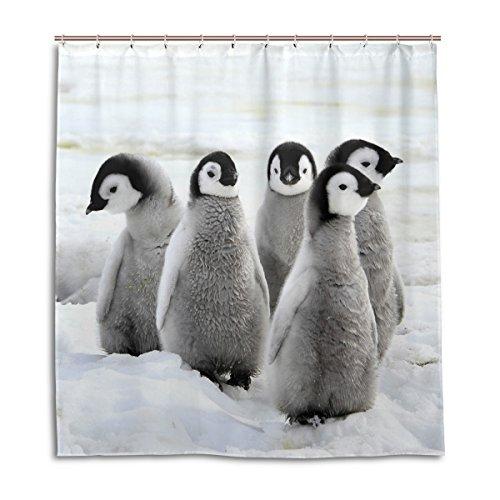 MyDaily Duschvorhang mit niedlichen Pinguinen, 182,9 x 183,9 cm, schimmelresistent & wasserdicht, Polyester, Dekoration für Badezimmer