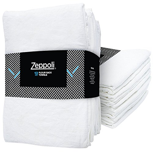Zeppoli 12-Pack Flour Sack Towels - 31' x 31' Kitchen Towels - Absorbent White Dish Towels - 100% Ring Spun Cotton Bar Towels