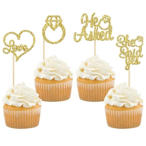 Gyufise He Asked She Said Yes Cupcake Toppers Gold Glitter Diamond Ring Heart Love Cake Picks for Wedding Engagement Party Cake Decorations 24 Pack