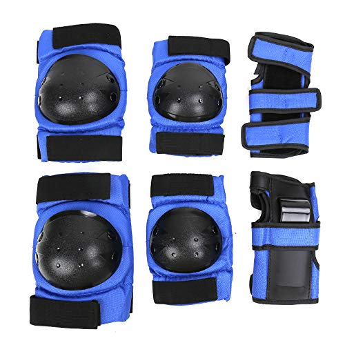 PiscatorZone Protective Gear Set Knee Pads Elbow Pads Wrist Guards for Skateboarding Roller Skating Cycling Bike BMX Bicycle Scootering 3Pairs (Blue, S)