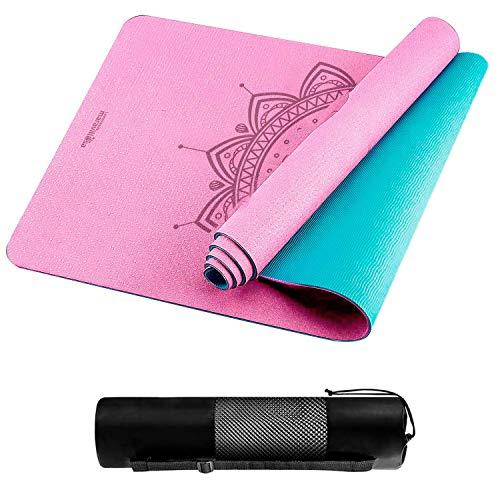 LA MENTE ES MARAVILLOSA - Tappetino per Yoga, Pilates o Altri Sport - Tappetino Antiscivolo in TPE con Tracolla (Mandala Rosa)