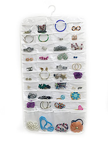 Premium Quality 80-Pocket Hanging Jewelry Organizer – Holder & Storage Case with Durable Pockets & Hanger – for Earrings, Bracelets, Pendants, Scarves & Accessories – Transparen